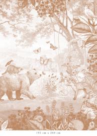 Bosdieren terracotta voor Daniëlle | 297b x 296h cm