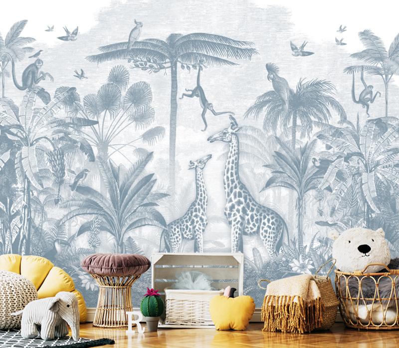Giraf & slingeraapjes blauw