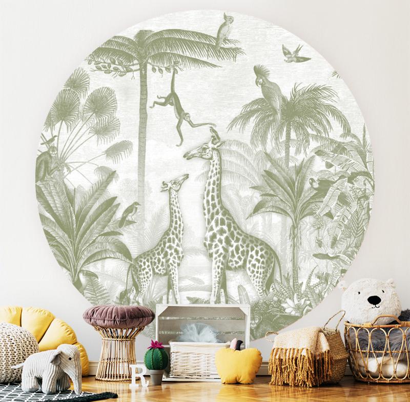 Giraf & slingeraapjes behangcirkel - keuze uit 7 kleuren