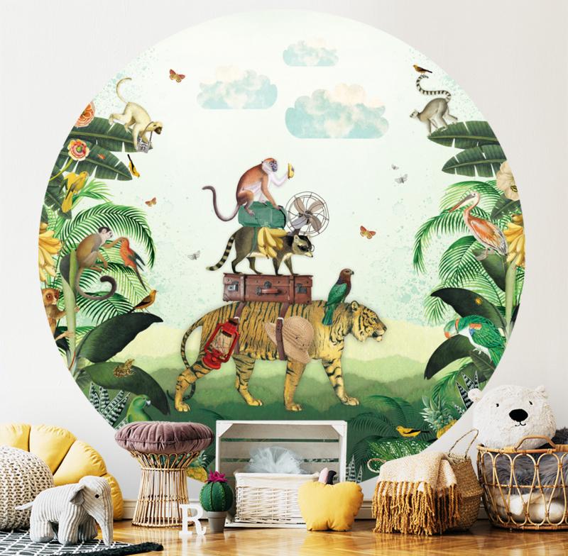 Tijger in de jungle behangcirkel