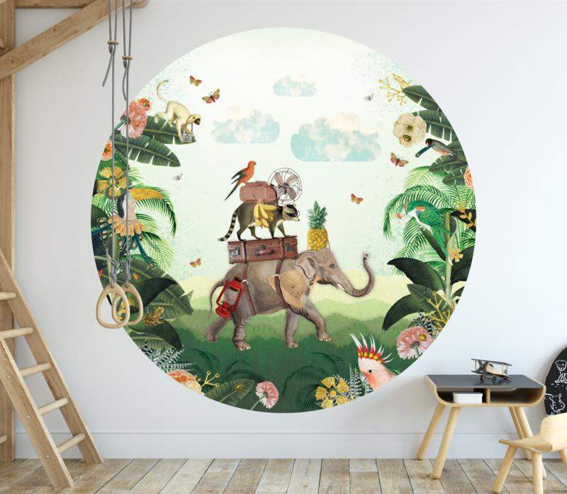 Olifant in de jungle behangcirkel