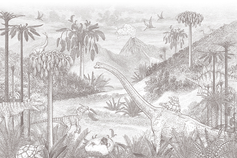 Jurassic world behang | potloodgrijs