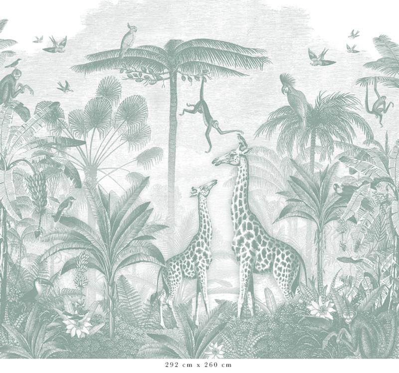Giraf & slingeraapjes zeegroen