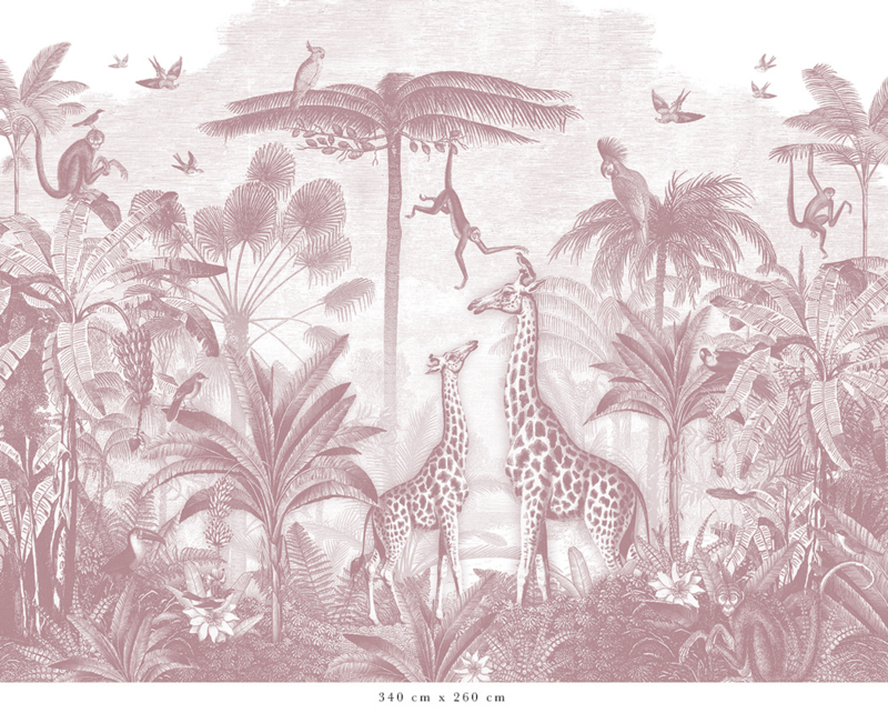 Giraf & slingeraapjes oudroze