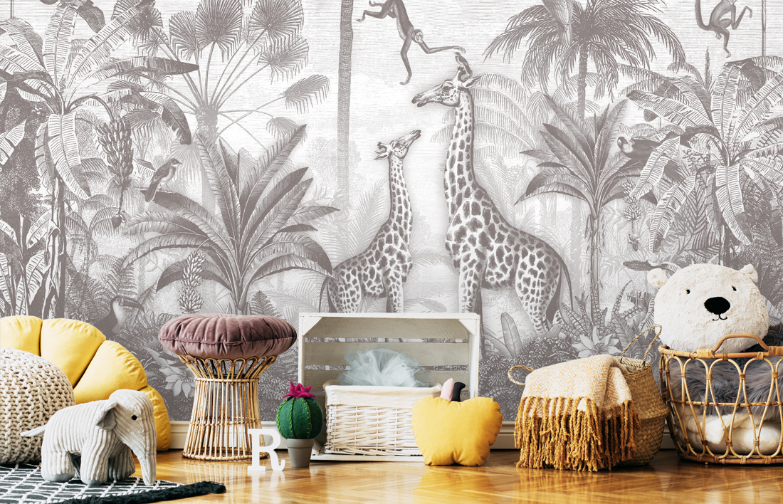 Behang Giraf en Slingeraapjes