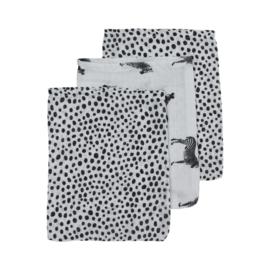 Hydrofiel washandjes 3-pack |  Zebra Animal Cheeta Black |