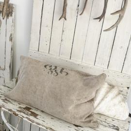Oude linnen sloop/zak met tekst VERKOCHT