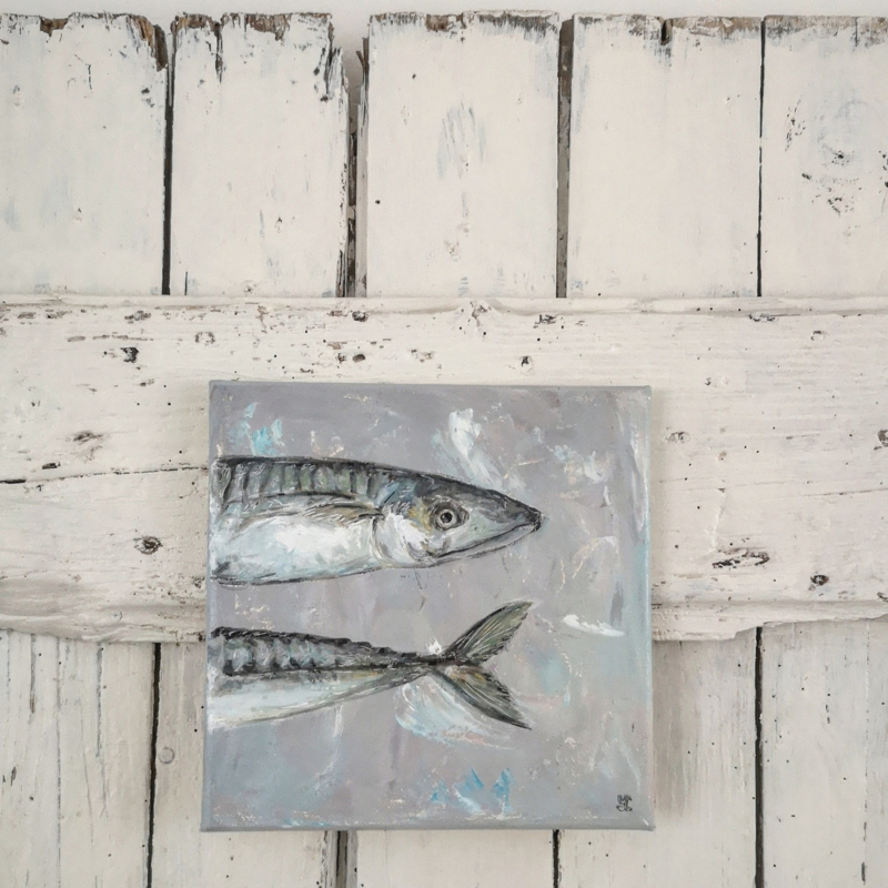 "Olieverf op klein doek ""Fish"" VERKOCHT"