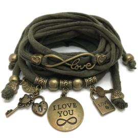 Set Love Infinity en plaat armband Infinity - army groen