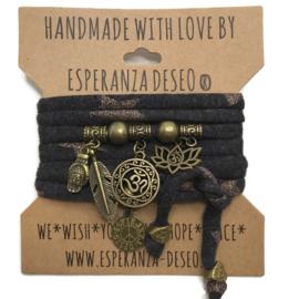 """Antraciet rosé gouden sterren armband met brons kleurige bedels thema """"Ohm lotus"""""""