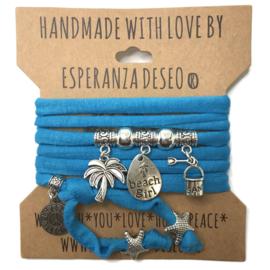 """Caribbean blauwe armband met zilverkleurige bedels thema """"Beach girl"""""""