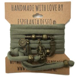 "Olijf groene armband met brons kleurige bedels thema ""Ganesha"""