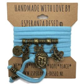 "Licht turquoise blauwe armband met brons kleurige bedels thema ""Buddha Ibiza"""