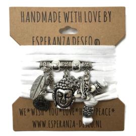 "Witte armband met zilverkleurige bedels thema ""Buddha Ibiza"""