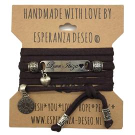 Donker bruine armband met de tekst: Love Ibiza - Magic Island