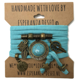 "Turquoise armband met brons kleurige bedels thema ""Indian Turquoise"""