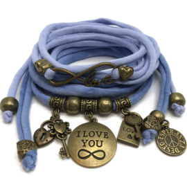 Set Love Infinity en plaat armband Infinity - licht jeans blauw
