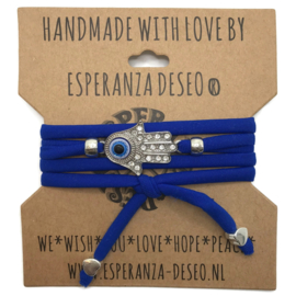 Hamsa wikkelarmband met koningsblauw lycra koord