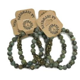 Natuursteen armbandje Afrikaanse Turquoise -dames maat m