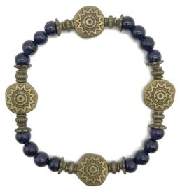 Natuursteen armbandje blauwe agaat - maat s/m