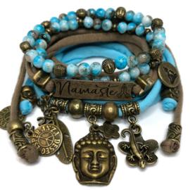 Set Namaste - Buddha Ibiza - Pastel turquoise en bruin