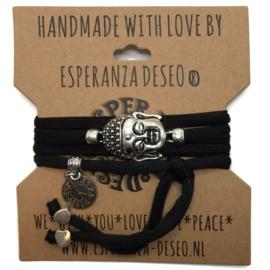 Wikkelarmband Buddha - Zwart