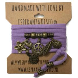 """Paarse armband met brons kleurige bedels thema """"Peace"""""""