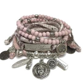 Set Proud Mama - Buddha heart - Lurex pink and print
