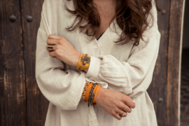 Set dreamcather en plaat armband dream - okergeel en donkerbruin