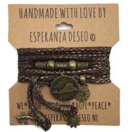 Lycra snake print bruin en koper armband met Ibiza munt Es Vedra - Love Ibiza
