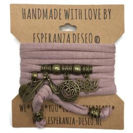 "Vintage roze armband met brons kleurige bedels thema ""OHM"""