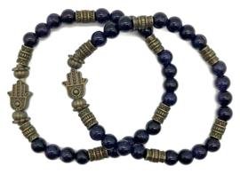 Natuursteen armbandje blauw agaat - maat s/m
