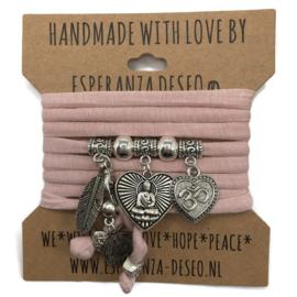 """Nude roze armband met zilverkleurige bedels thema """"Buddha heart"""""""