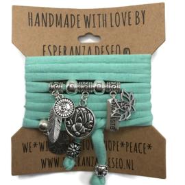 "Mint groene armband met zilverkleurige bedels thema ""Lotus Flowers"""