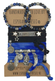Set Hippie Girl - Buffelo - Zwart en Tiedye blauw