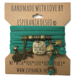 "Zeegroene armband met brons kleurige bedels thema ""Dreaming of the Sea"""