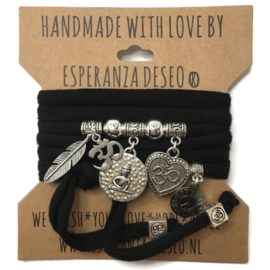 "Zwarte armband met zilverkleurige bedels thema ""Thai Buddha """
