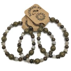 Natuursteen armbandje agaat en bronzite - maat s/m