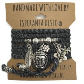 """Zwart met zilver print armband met zilverkleurige bedels thema """"Buddha Ibiza"""""""
