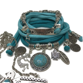 Set Hippie Girl - Indian thema - Licht en donker turquoise incl. ketting Thunderbird