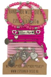 Set Love Ibiza - Buddha Heart - Hard roze en roze