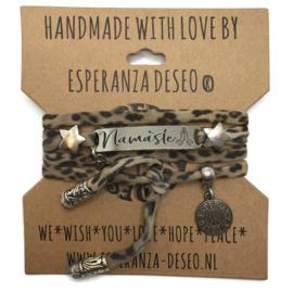 Lycra leopard print armband met de tekst: Namaste - Respect