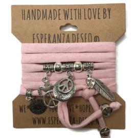 """Baby roze armband met zilverkleurige bedels thema """"Peace"""""""