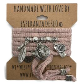 "Roze lurex armband met zilverkleurige bedels thema ""Buddha round"""