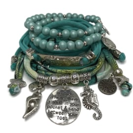 Set Enjoy Life - May you always have a shell ... - Hippie print turquoise