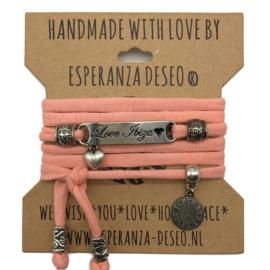 roze armband met de tekst: Love Ibiza - Magic Island