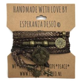Lycra snake print bruin en koper armband met Ibiza munt Benirras - Love Ibiza
