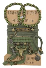 Set Hippie Girl - Turquoise steen - leger groen en olijf groen