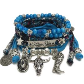 Set Hippie Girl- Buffalo - Caribbean blauw met print