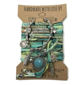 Set Hippie Girl - Turquoise steen - mint print